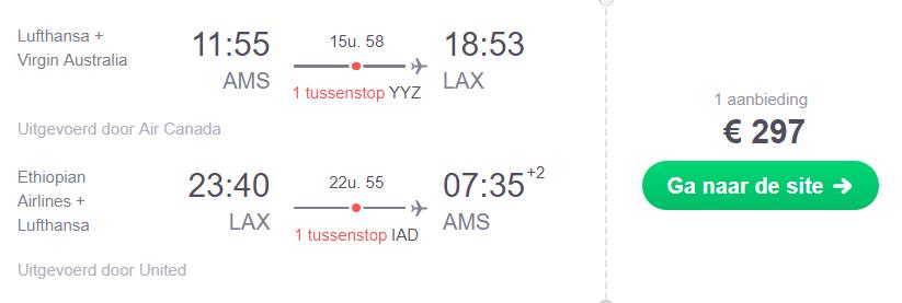 Retourtickets Los Angeles