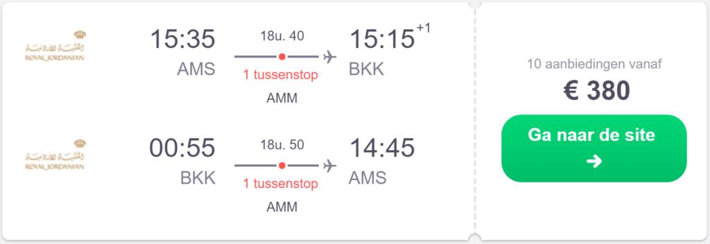 Screenshot van het retourtje naar Bangkok
