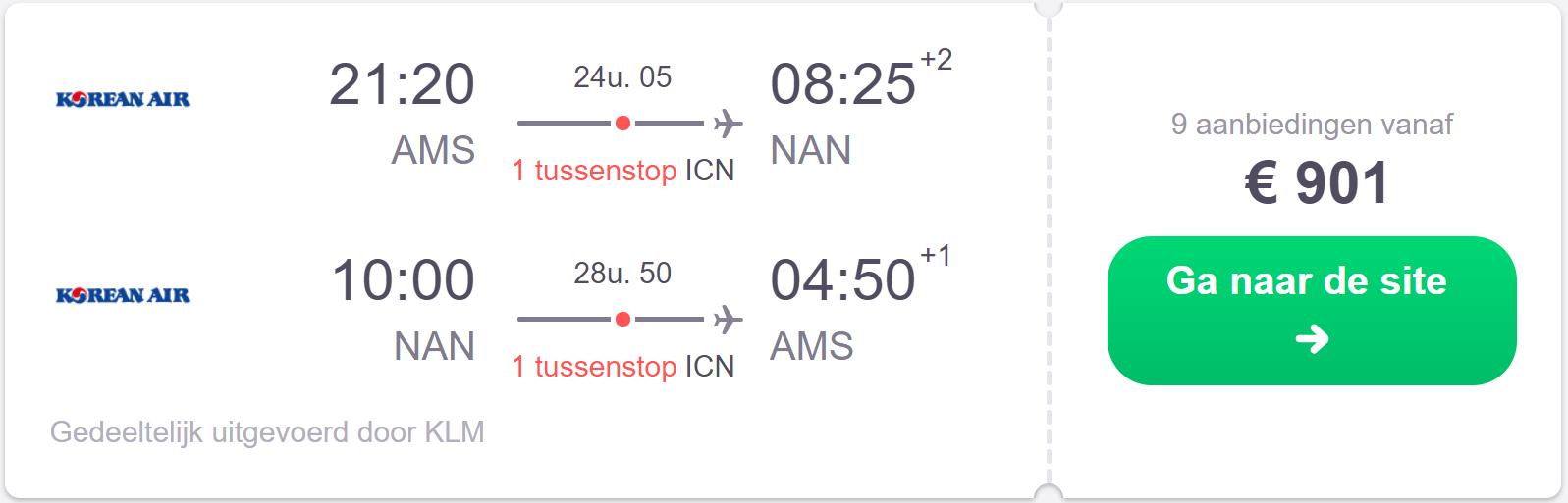 screenshot vliegtickets naar Fiji