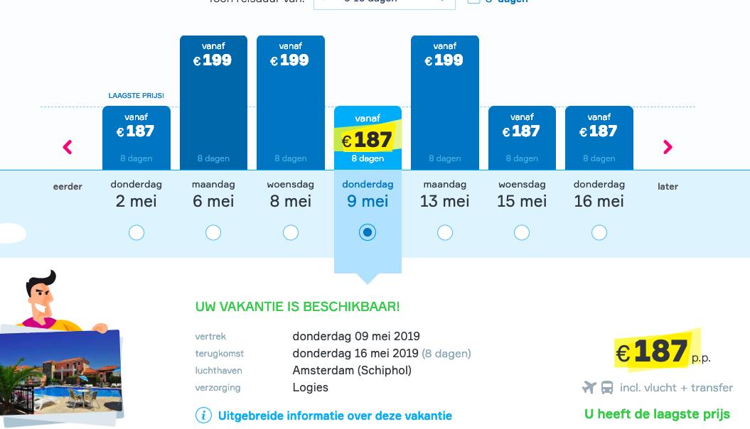 screenshot goedkope zonvakantie naar Lesbos