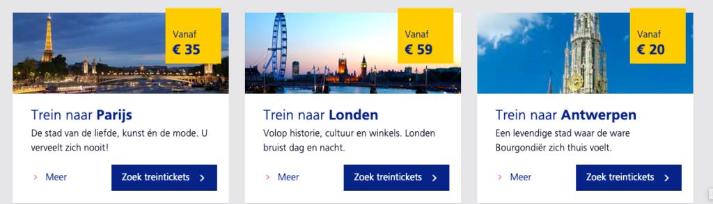 screenshot Spotgoedkope treintickets binnen Europa
