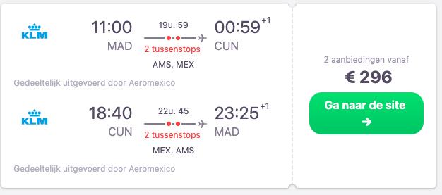 screenshot klm vliegtickets naar Cancun