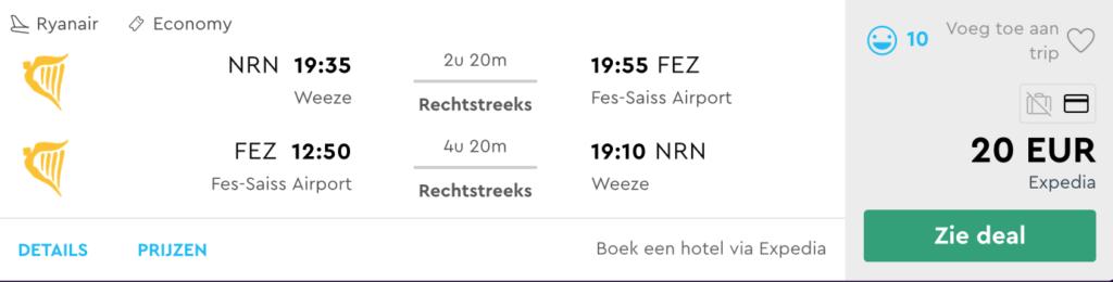 Check snel de prijzen naar Fez