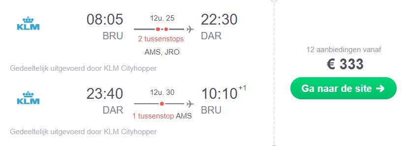 KLM Retourtickets Tanzania