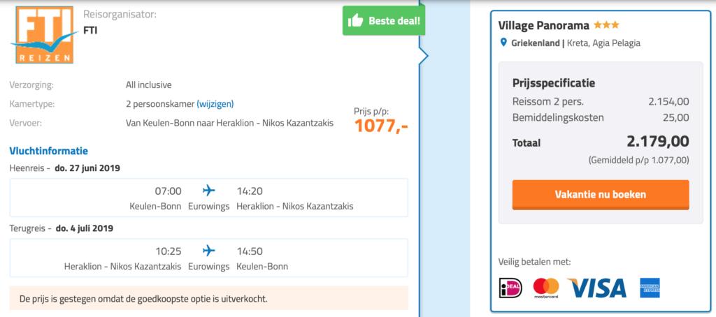Check de prijzen naar Kreta