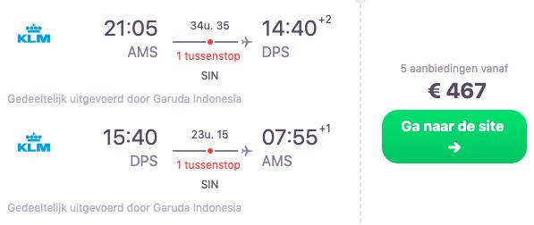 KLM Retourtickets naar Bali