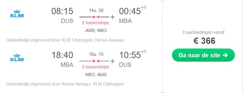 KLM Retourtickets Kenia