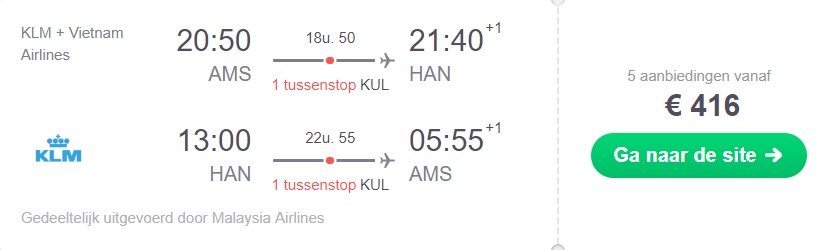 KLM Retourtickets Hanoi