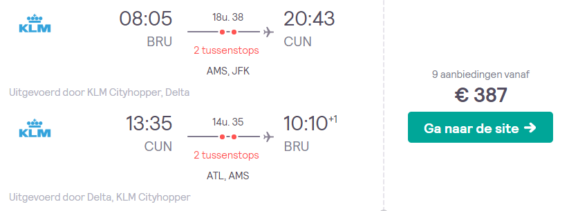 KLM Retourtickets Cancun