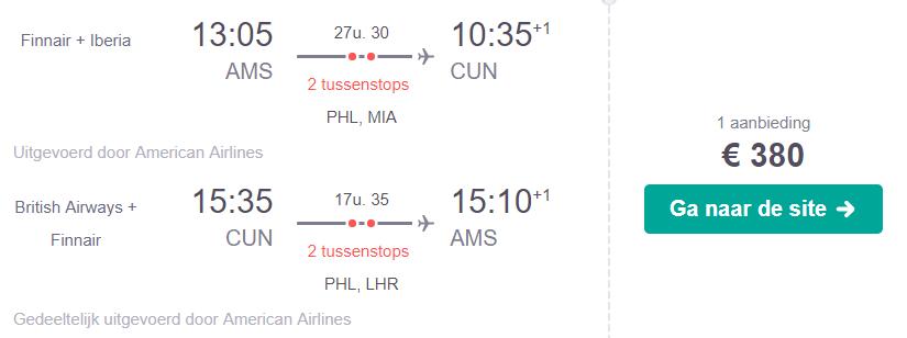 Retourtickets naar Cancun