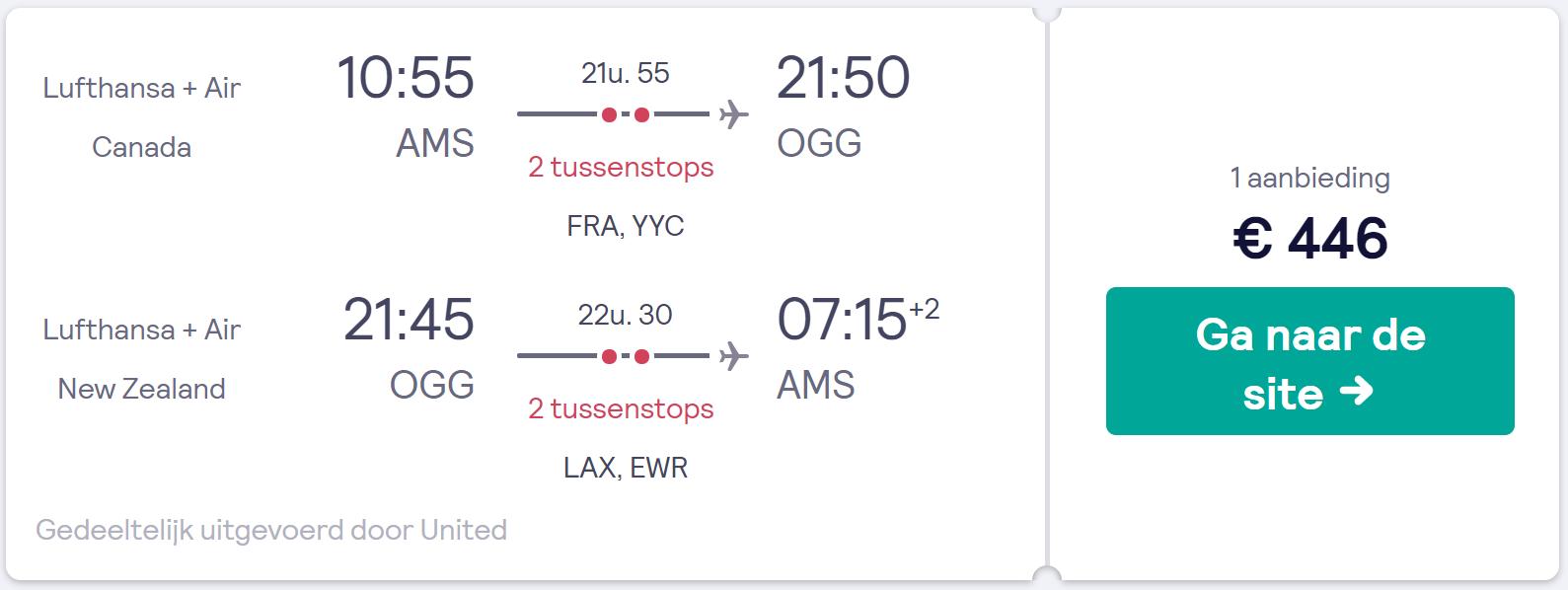 Vliegtickets van Amsterdam naar Hawaii