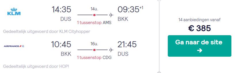 KLM Vliegtickets van Düsseldorf naar Bangkok v/a 385
