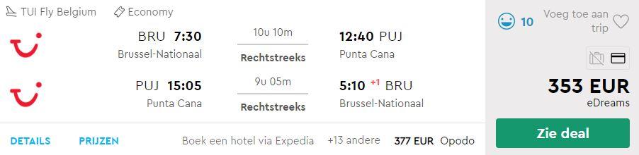 TUI Fly Belgium Tickets van Brussel naar Punta Cana v/a 353