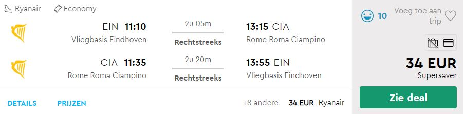 Ryanair Ticket van Eindhoven naar Rome v/a 34