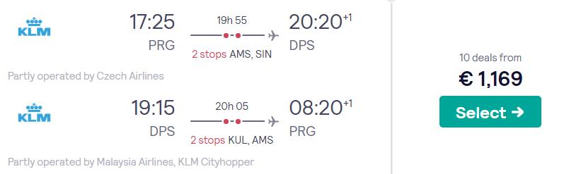 KLM Business Class Tickets naar Bali