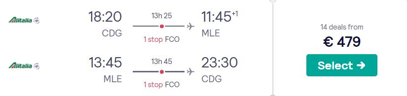Tickets van Parijs naar de Malediven v/a 479