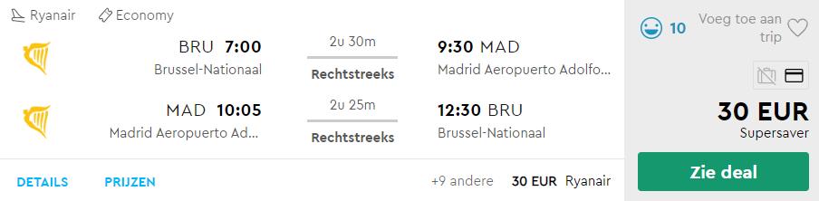 Tickets van Brussel naar Madrid v/a 30