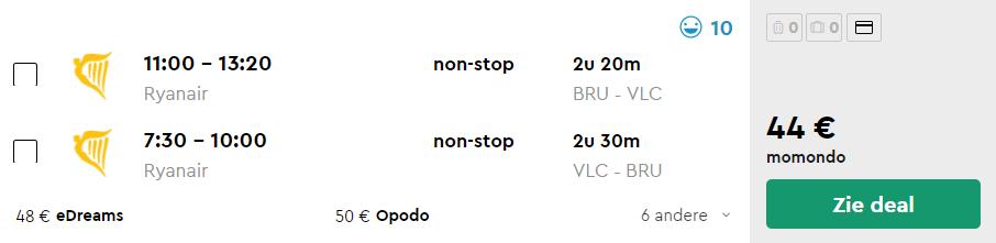 Ryanair Tickets van Brussel naar Valencia v/a 47
