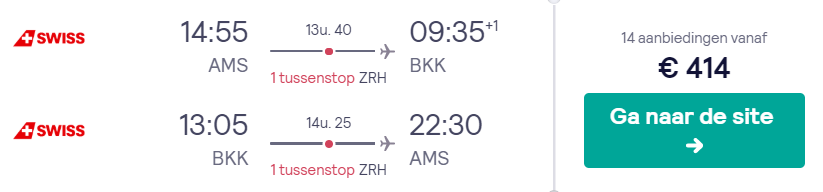 Retourtickets naar Bangkok