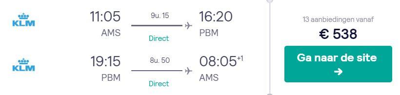 KLM Tickets van Amsterdam naar Paramaribo v/a 538