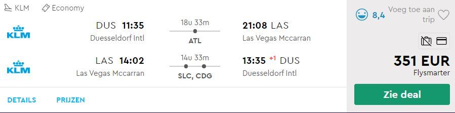 KLM Ticket van Dusseldorf naar Las Vegas v/a 351