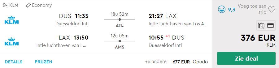 KLM Ticket van Dusseldorf naar Los Angeles v/a 376