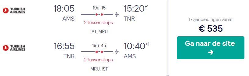 Turkish Airlines Ticket van Amsterdam naar Madagaskar v/a 535