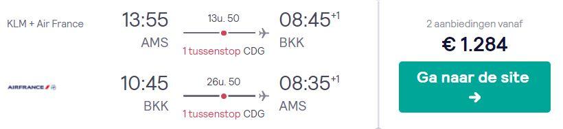 KLM + Air France Business Class Tickets van Amsterdam naar Bangkok v/a 1284