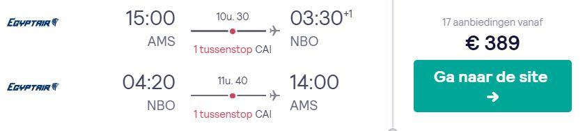 Egyptair Tickets van Amsterdam naar Nairobi v/a 389