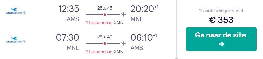 Xiamen Air Tickets van Amsterdam naar de Filipijnen v/a 353