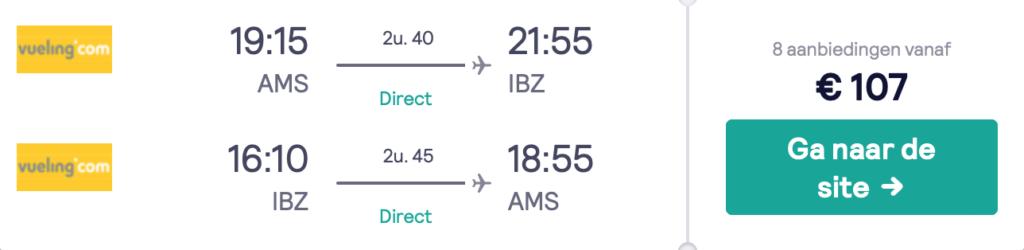 Check snel de prijzen naar Ibiza