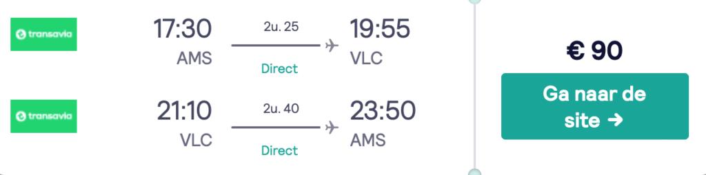 Check snel de prijzen naar Valencia